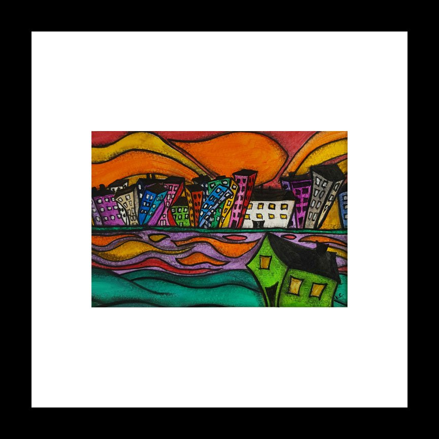 """Sunset City"" [2017] Image 5"" x 7"". Framed 12"" x 12"" Mixed Media SOLD"