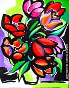 """SOLD to BC, Canada """"Abstract Red Tulips""""  original painting/drawing in acrylic and ink on paper  18"""" x 24"""""""