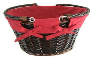 """CBL826RD Oval willow basket with red fabric liner & folding handles 16""""x13.5""""x8""""H"""