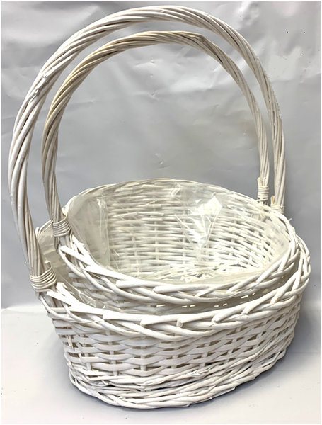 """CBL866V2W White slanted willow baskets with handle - LINED L: 16""""x12""""x4.5""""H1x8.5""""H2x18""""OH, S: 14""""x11""""x4""""H1x7.75""""H2x15""""OH"""