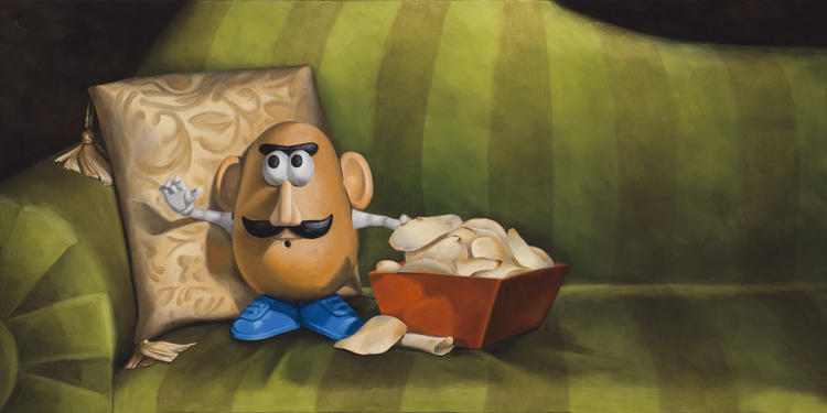 "Couch Potato 15"" x 30"" / sold oil on canvas"