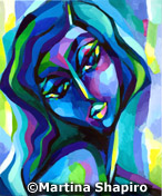Dark Blue Woman abstract expressionist painting