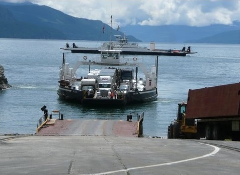 The DEV Galena in her last week of service with the MV Columbia in the background ready to replace her.