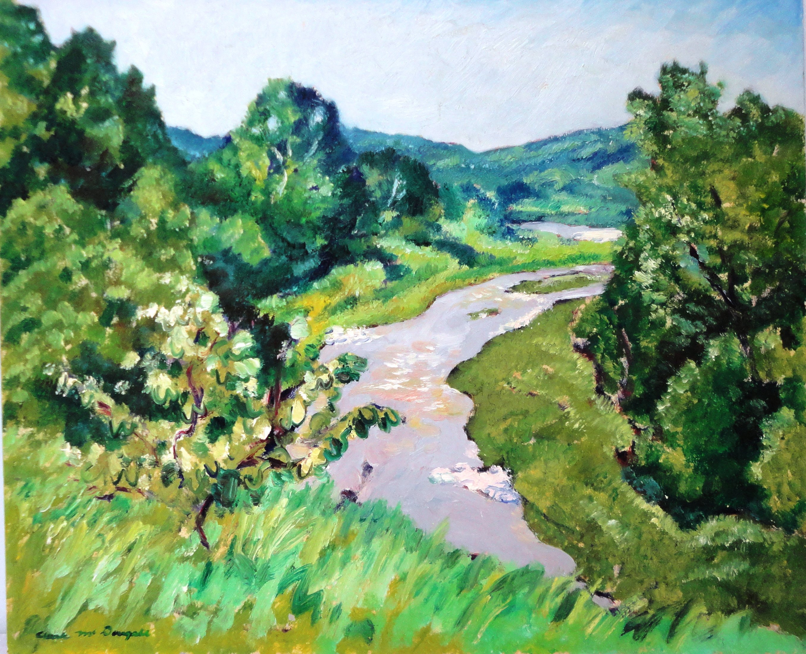 Creek in the Summer, Oil on card