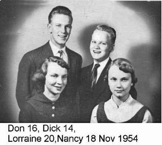Dick, Don, Nancy, Lorraine 1954