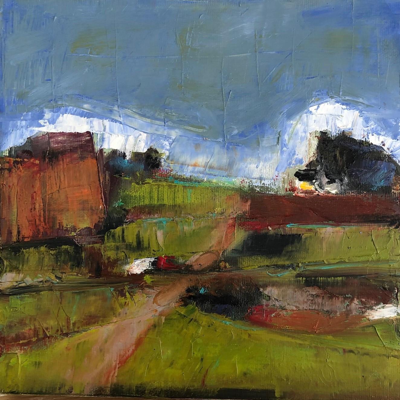 "Rust Cliff 8"" x 8"", Oil on canvas $150"