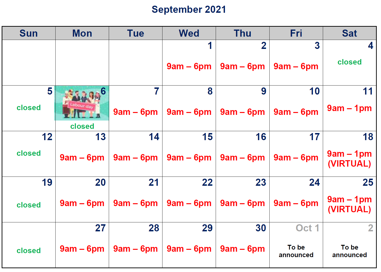 Clinic hours for this month