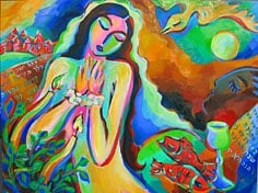 Shabbat Blessing original Jewish painting by artist Martina Shapiro