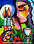 Shabbat Lights original Jewish painting by artist Martina Shapiro