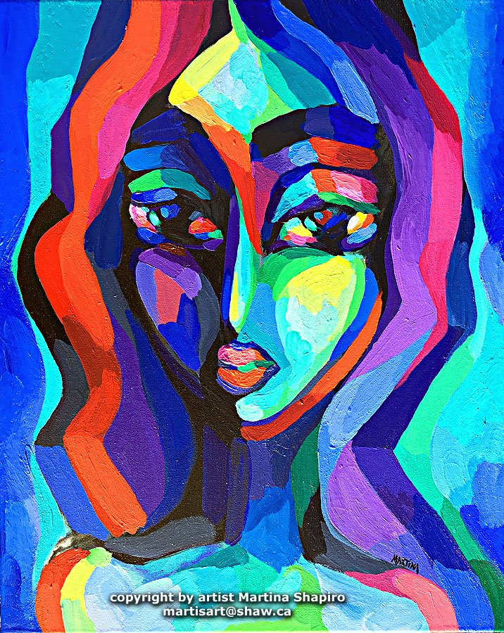Woman In Blue And Purple painting by Martina Shapiro