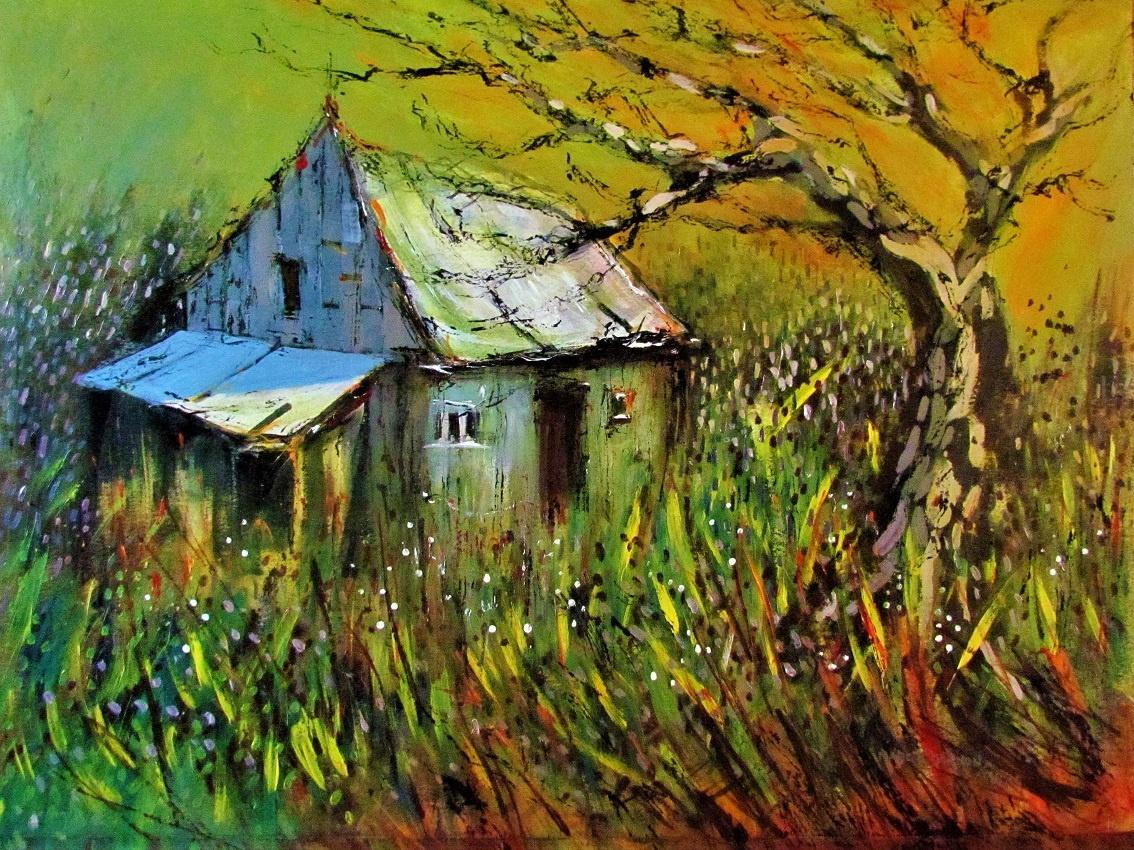 """A Highland Farm 24"""" x 30"""" acrylic"""