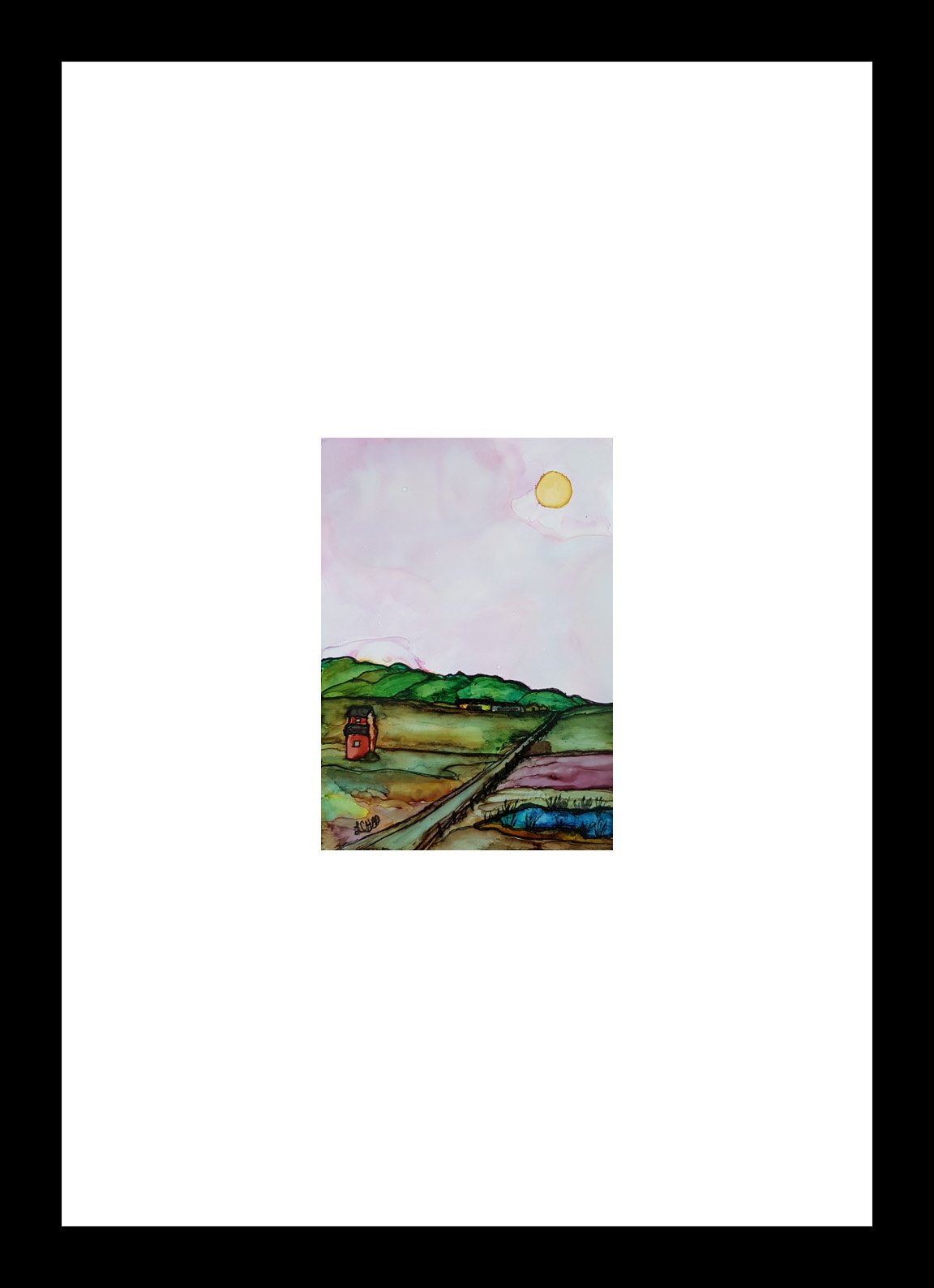 """On the Prairie"" [2019] Image: 5"" x 7"" Framed: 10"" x 16"" Alcohol Ink on Yuppo $175.00"