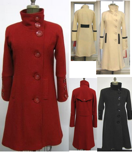 Style #2058  Ruby Red - Boiled Wool Winter White, Black  Features: Easy fit that is comfortable and stylish.  Comfortable raglan sleeves.  Button front closure. Buttoned yolk detail at (back) shoulders,  Genuine leather on detail belt and pockets.  Lovely detailed sleeves. Includes extra buttons. Chamois lined for warmth.  Available Fabrics:  Boiled Wool, Cashmere or Cashmere Blend, Alpaca 100% Pure Virgin Wool  and more.  In-Stock Colours: Winter White, Slate, Black, Violet, Plum, Red or can be custom made in any colour or fabric.  Size: S,M,L  Price:   $ 579  and up