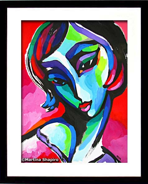 Abstract Female on Red painting by artist Martina Shapiro