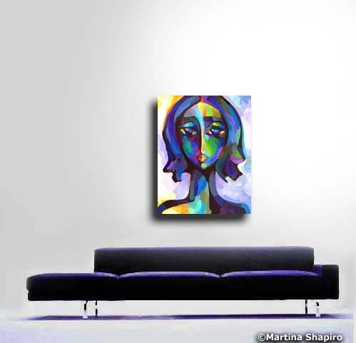 Blue Woman Portrait by artist Martina Shapiro
