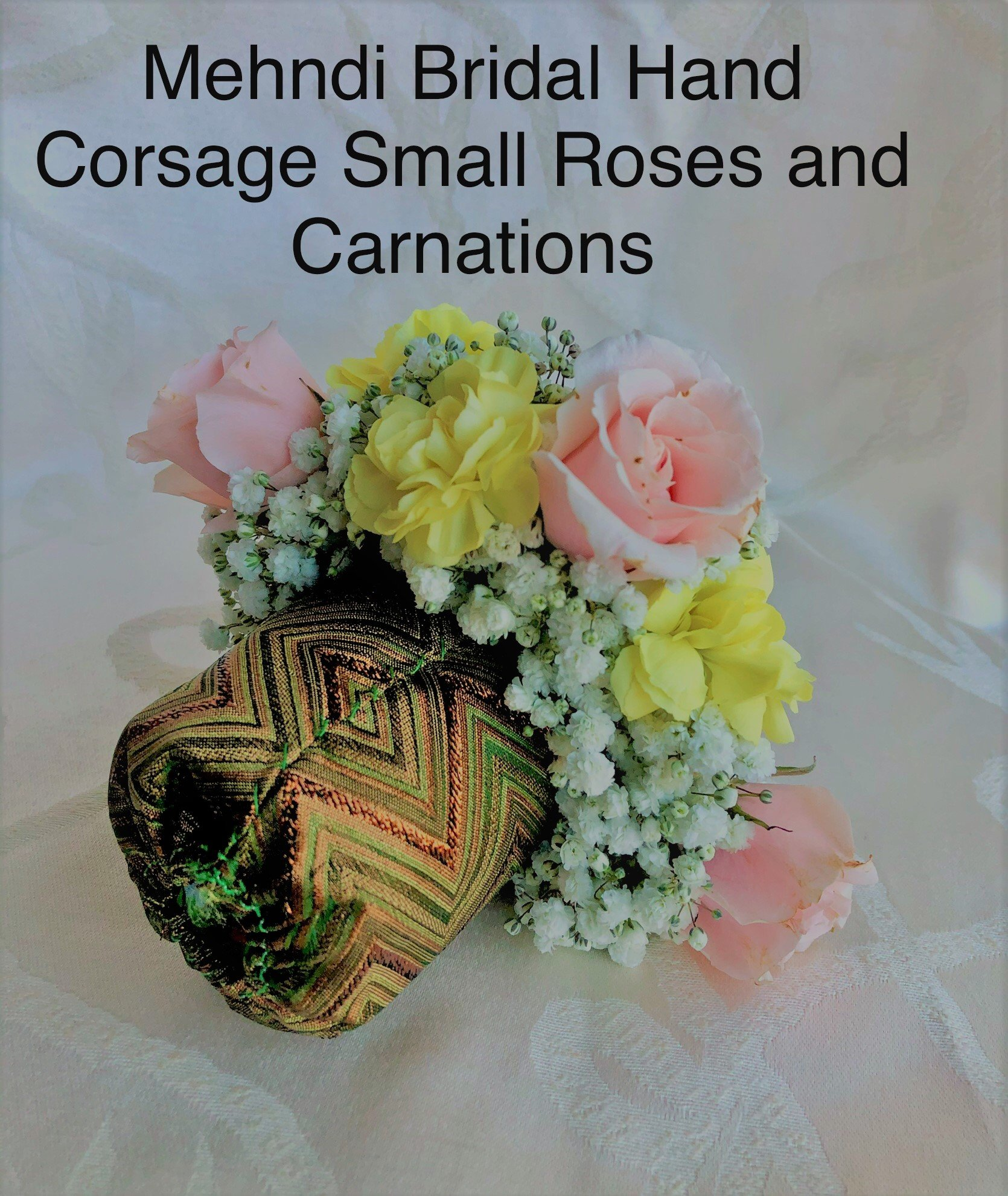 Bridal Mehndi Hand Corsage Small Roses and Carnations