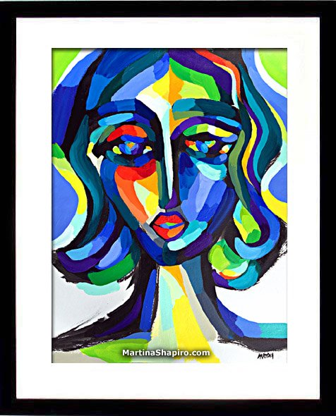 Blue Woman Expression painting in a frame - artist Martina Shapiro