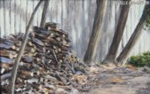 """By the Wood Pile"" 4"" x 6"" Alkyd on hard board $ 200"