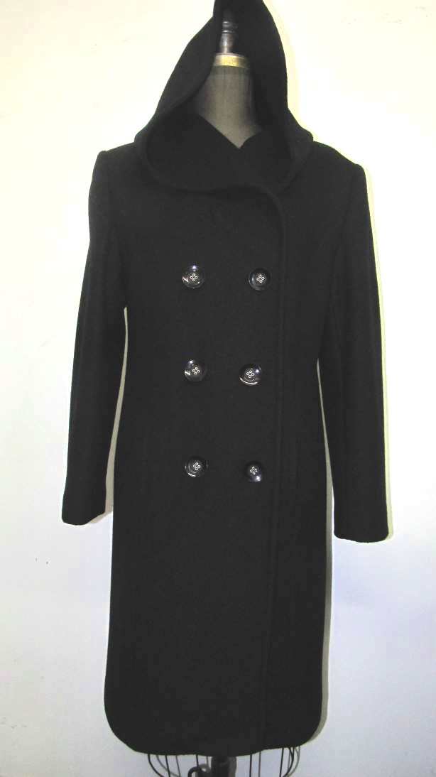 Style #4055-6 Black - Cashmere Wool.  Features:  Knee length coat with a an oversized hood. Double breasted style.  Roomy. comfortable coat which is great for layering.     Fully chamois lined.  Includes extra Buttons.  In-Stock Colours:  Black, Plum, Camel, Black Tweed, Indigo, Stone, Dark Navy, Rust, Sangria, Navy.  Size: S, M, L  Price:  $525 and up