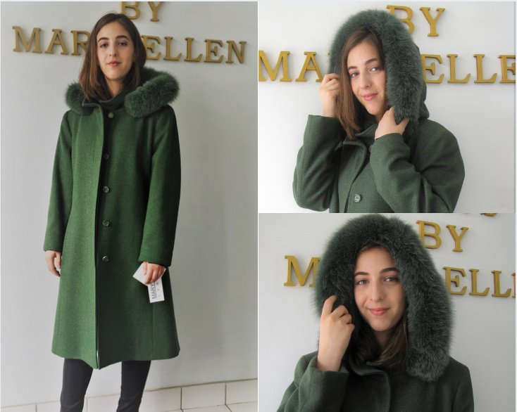 Style #4066-18   Kelly Green  100% Pure Virgin Wool  Features:  Classic styling and optimum comfort.  Detachable genuine fox trimmed  hood. Coat has a stand  collar, ideal for keeping the chill out on cold windy days. Full chamois lining.  Includes extra buttons.  In-Stock Colours:  Kelly Green, Plum, Sangria, Black,  Navy or can be made  in the colour of your choice.  Made From Fabrics Imported From Italy and Other  European Countries:: Cashmere, Cashmere/Wool Blends,  Alpaca blends, 100% Pure Virgin Wool and  other fine fabrics   Sizes: S, M, L  Price:  $599 and up