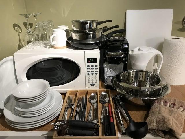 Kitchen amenities in the Atrevida Cabin