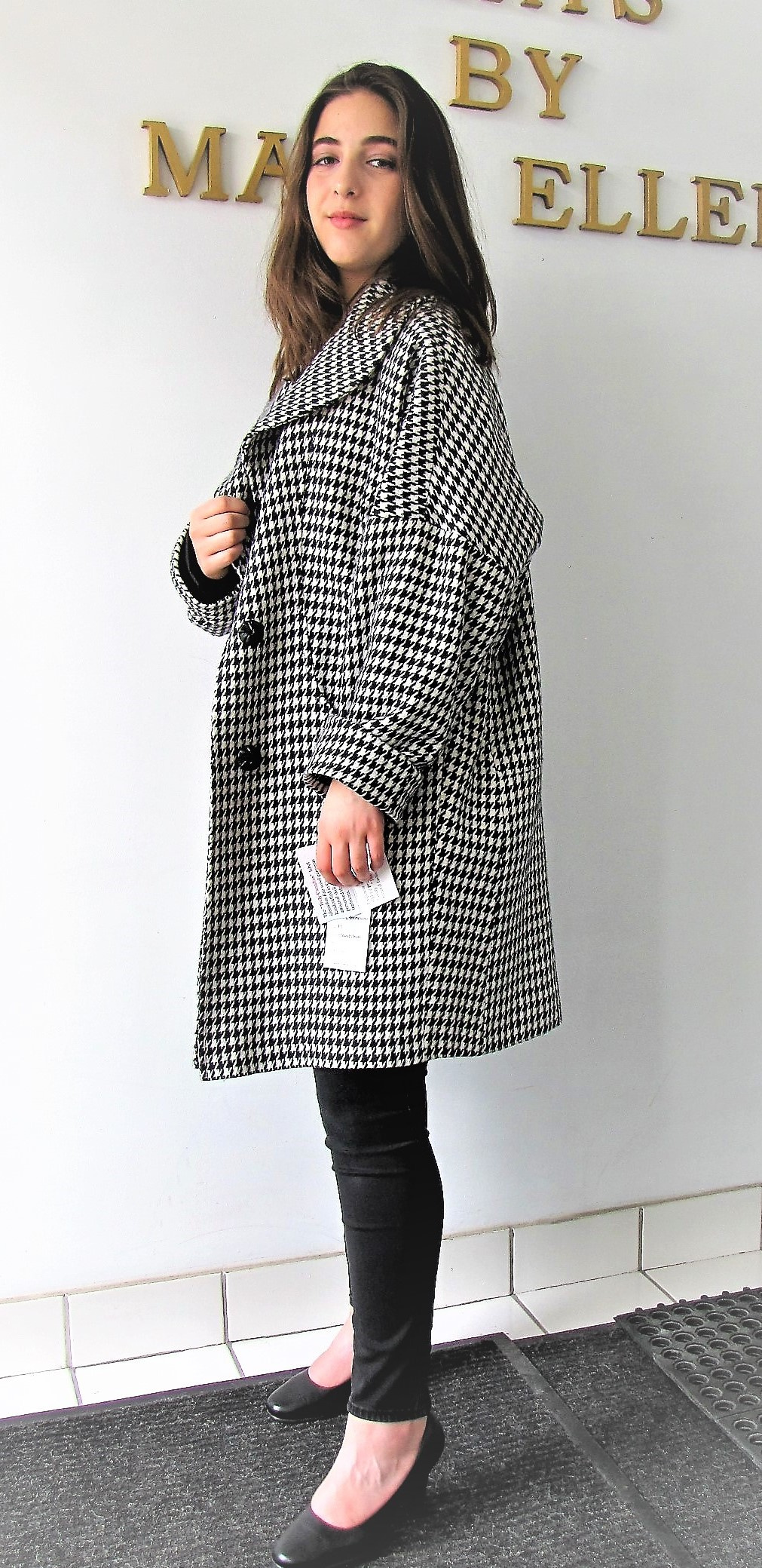 Style #B6423-7   Houndstooth 100% Pure Virgin Wool  Features:  Don't underestimate the allure of  oversized clothing, Especially when it comes to  luxe outerwear like this wool coat featuring   wide lapels and dropped  shoulders.  A must to compliment your wardrobe.   Fully chamois lined.  Extra button included.  In-Stock Colour:  Houndstooth pattern,  or can be custom made in the colour  of your choice.  Fabric Made in Italy: 100% Pure Virgin Wool or  can be custom  made in the fabric of your choice.    Sizes:  S, M, L  Price:  $449 and up