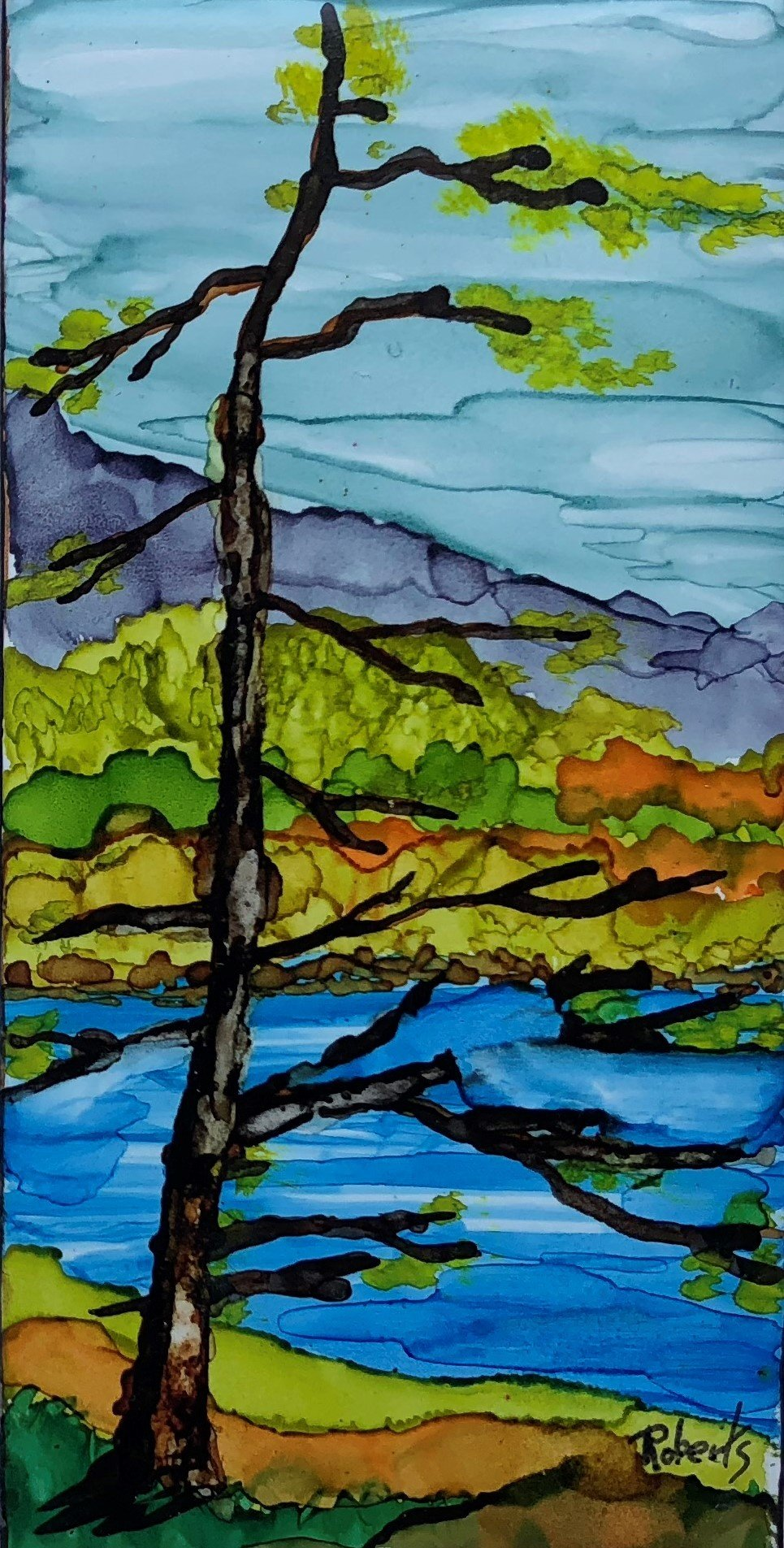 Blue River 3 x 6 tile $140. framed
