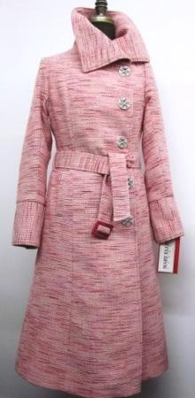 Stye 27302 - Pink Melange 100% Pure Virgin Wool  Features:  We crafted this coat  with modern styling   This belted coat features asymmetrical metal button closure for a unique look.   This coat is perfect for our Canadian winters, it is chamois lined and fully flannel backed!  Available Fabrics: Cashmere/Wool, Pure Virgin Wool, Boiled Wool or can be made in the fabric of your choice.    In-Stock Colours:  Black, Ruby Red  Size:  S, M, L  $ 525