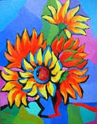 """<b>SOLD to FL, USA.<br> """"Abstract Sunflowers""""<br> original oil painting</b><br>14 x 18"""""""