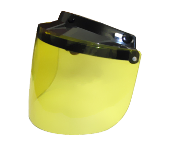 Écran adaptable sur casque Jet Se fixe par 3 pressions ajustables Relevable Couleur jaune Prix: 34.79$