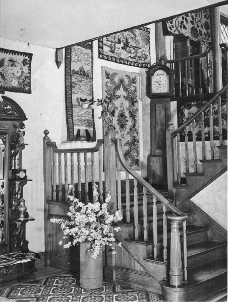 Front stairs at Pinecrest (Clinton) with clock that Amos wouldn't wind after his mother died