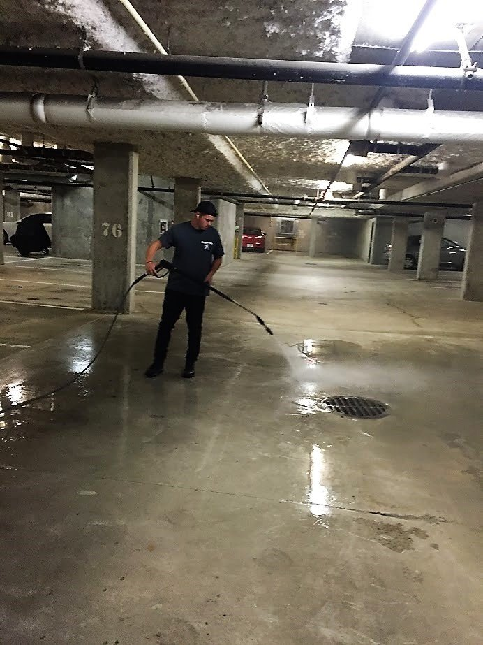 power washing underground parkade