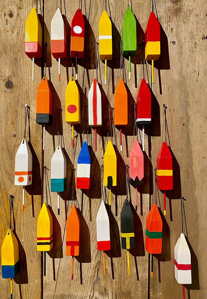 Miniature Buoys representing the Ingalls Head Fleet in 1984