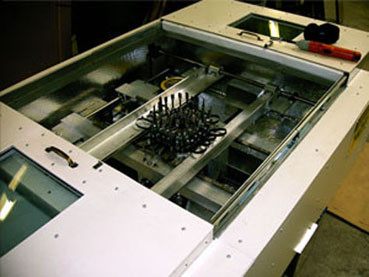 """Biaxial Drawing Machine for Rutgers University - 4"""" sample is clamped and heated up to 400F"""