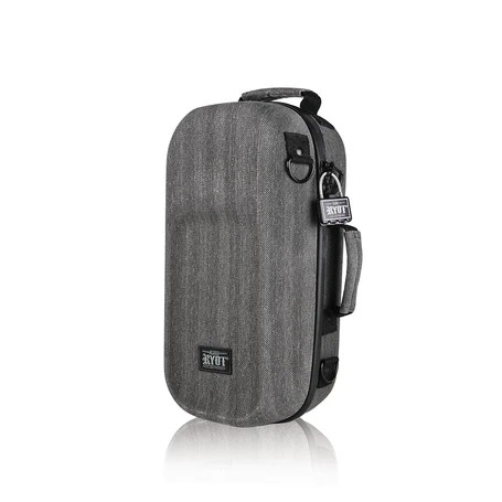 RYOT- Axe Pack Smellproof Case Confidently pack and carry your precious gear with the new and upgraded RYOT Ax Pack.  This premium hard-case is engineered to protect your smoking accessories for storage or transport. The weather-resistant exterior is thick and durable and features lockable zipper pulls and a comfortable shoulder strap.  The interior is where this case really stands out, hiding soft memory padded walls and silicone mat dividers for protecting and organizing all your items. Finally, the SmellSafe Carbon Series is added to trap odors for additional stealth.