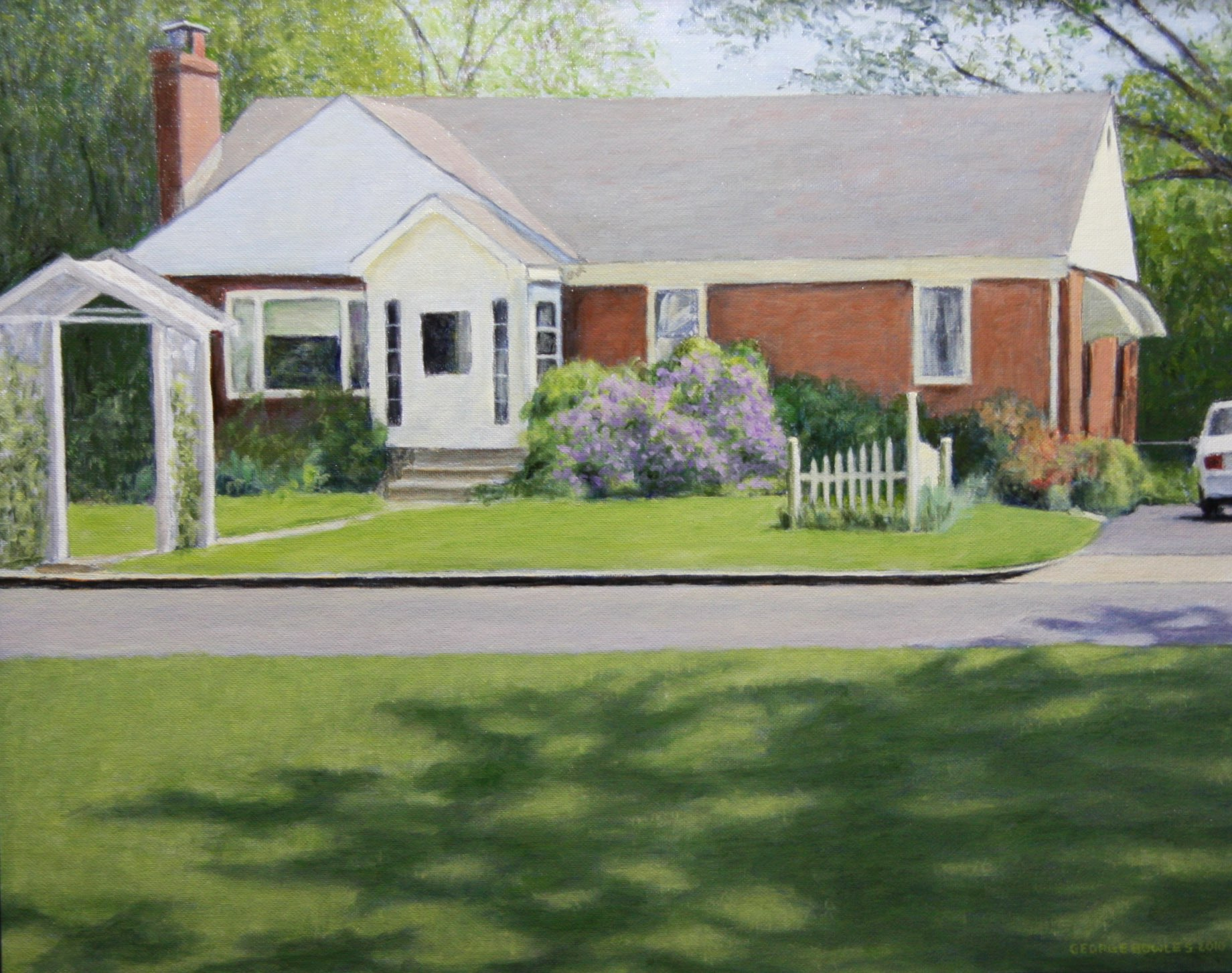 """The House Across the Street"" 16"" x 20' Alkyd on hard board $ 600"