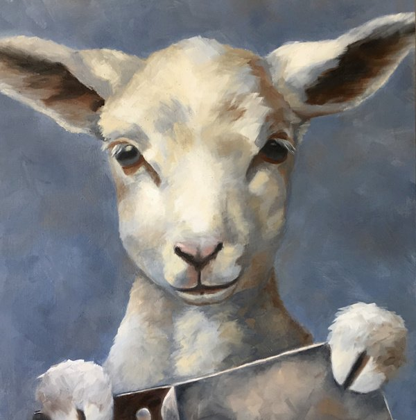 "This Lamb Chops 12"" x 12"" / sold oil on birch panel"