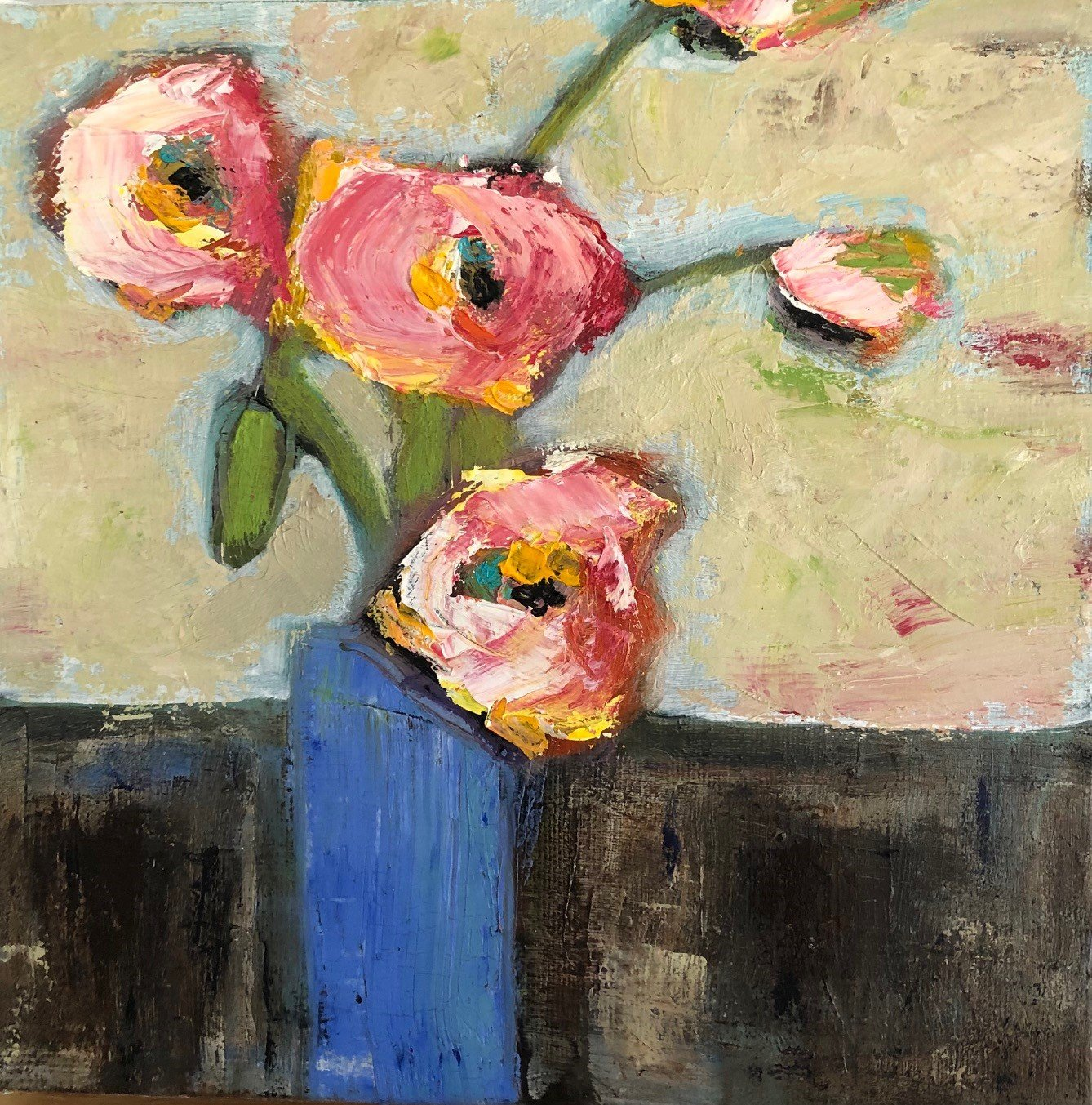 """Pale Pink Flowers 8"""" x 8"""" Oil on canvas SOLD"""