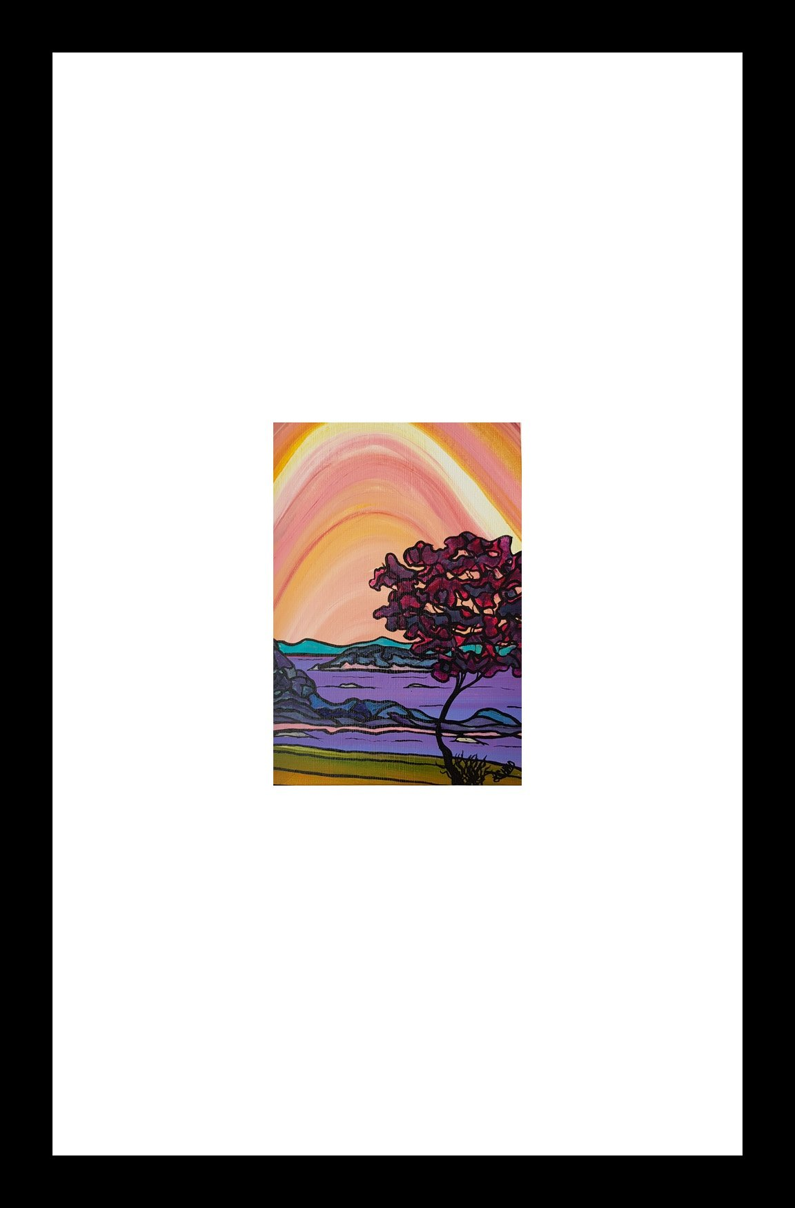 """Neck Point Sunset"" [2018] Image: 5"" x 7"". Framed: 10"" x 16"" Acrylic on 246 lb. paper $200.00"