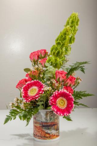 Custom Coffee Mug Floral Arrangement
