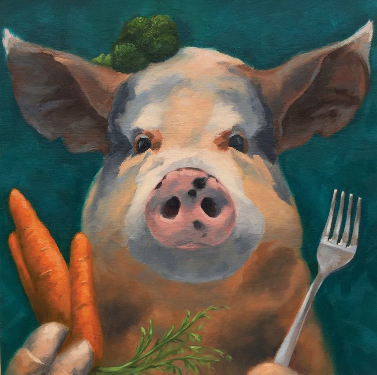 "Pig Out 12"" x 12"" oil on wood panel"