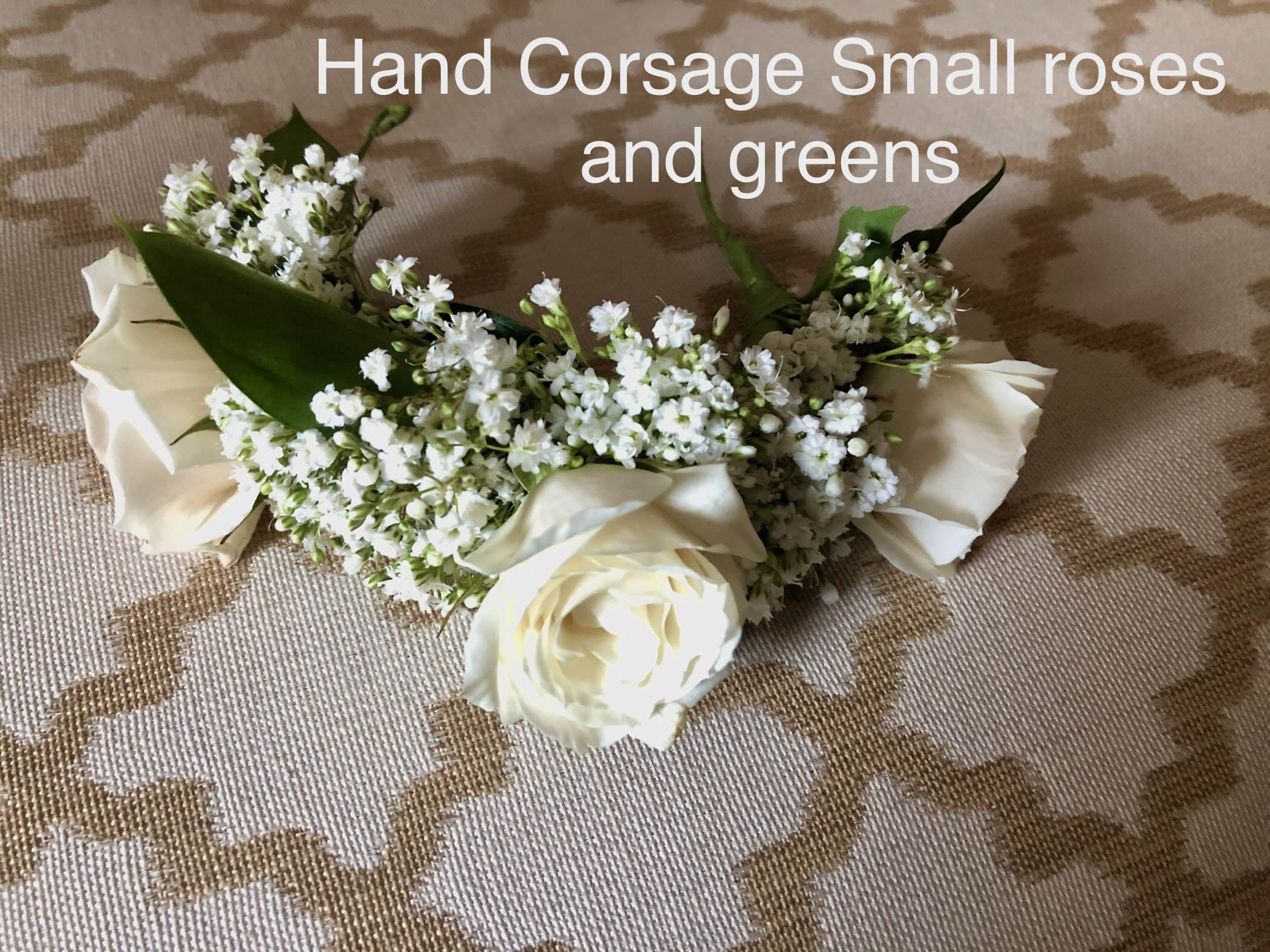 Bridal Hand Corsage small roses and greens