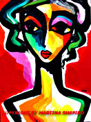 expressionist girl on red painting