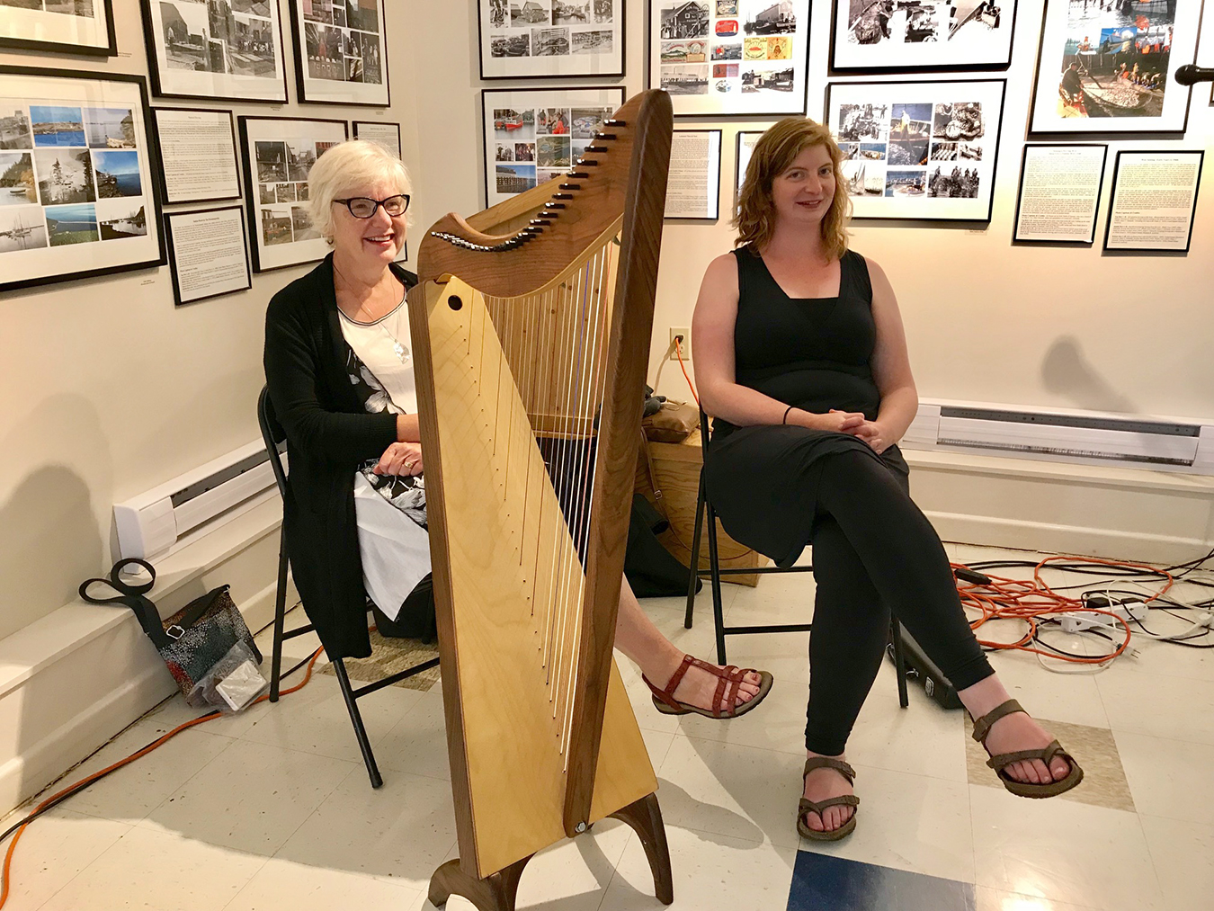 Guest Performers Sharon & Kate Johnston played Harp & Flute during Tea With Eleanor, 2019.