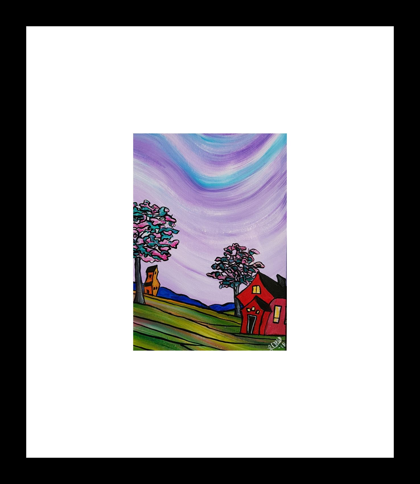 """Oh So Prairie"" [2018] Image: 7.5 x 9.5  Framed: 20"" x 20"" Acrylic on 246 lb. paper $225.00"