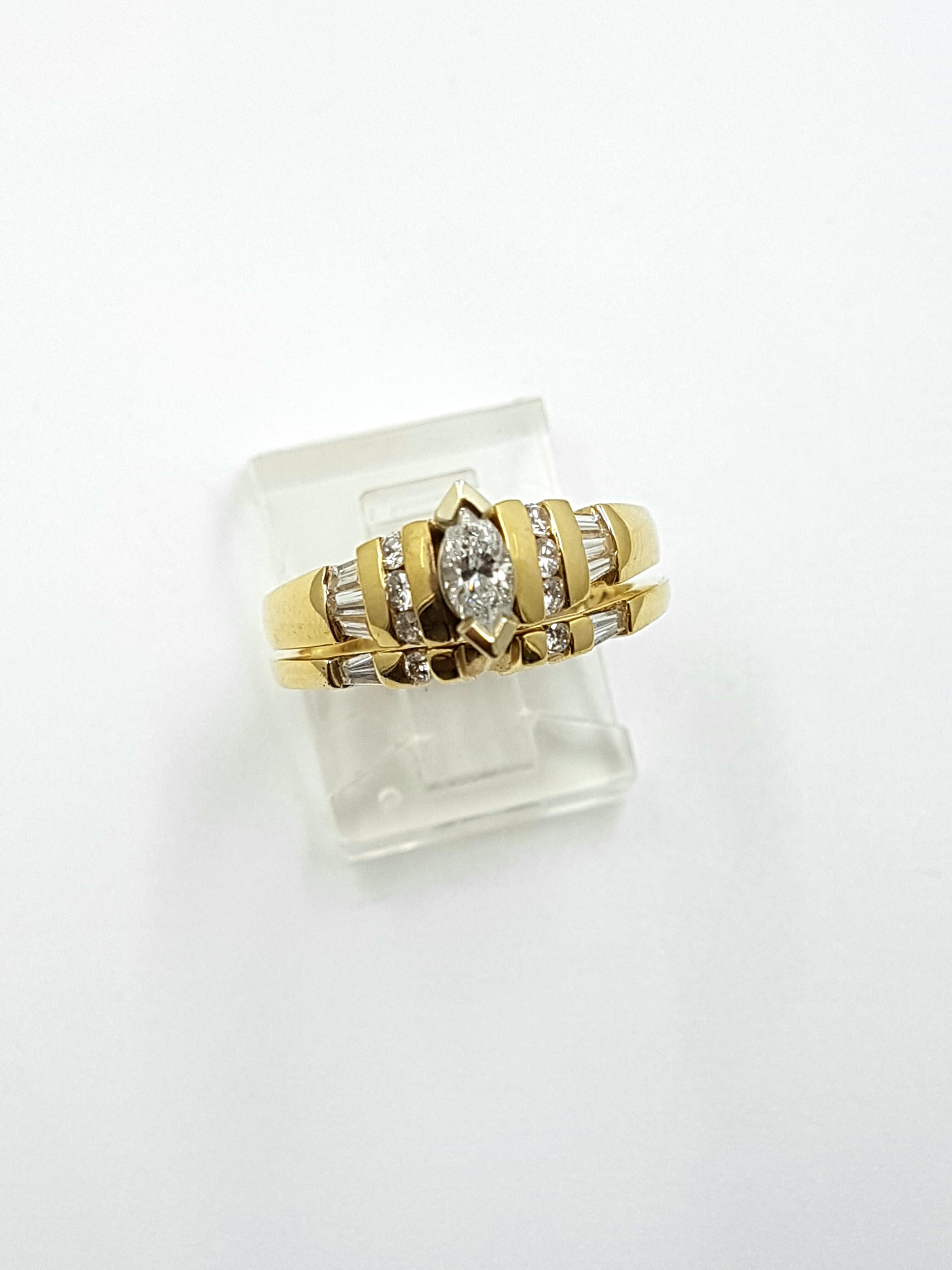Engagement Ring & Wedding Band 14K Yellow Gold 0.61ct Total Regular Price $5240 SALE $1295 Ref: DER235+W