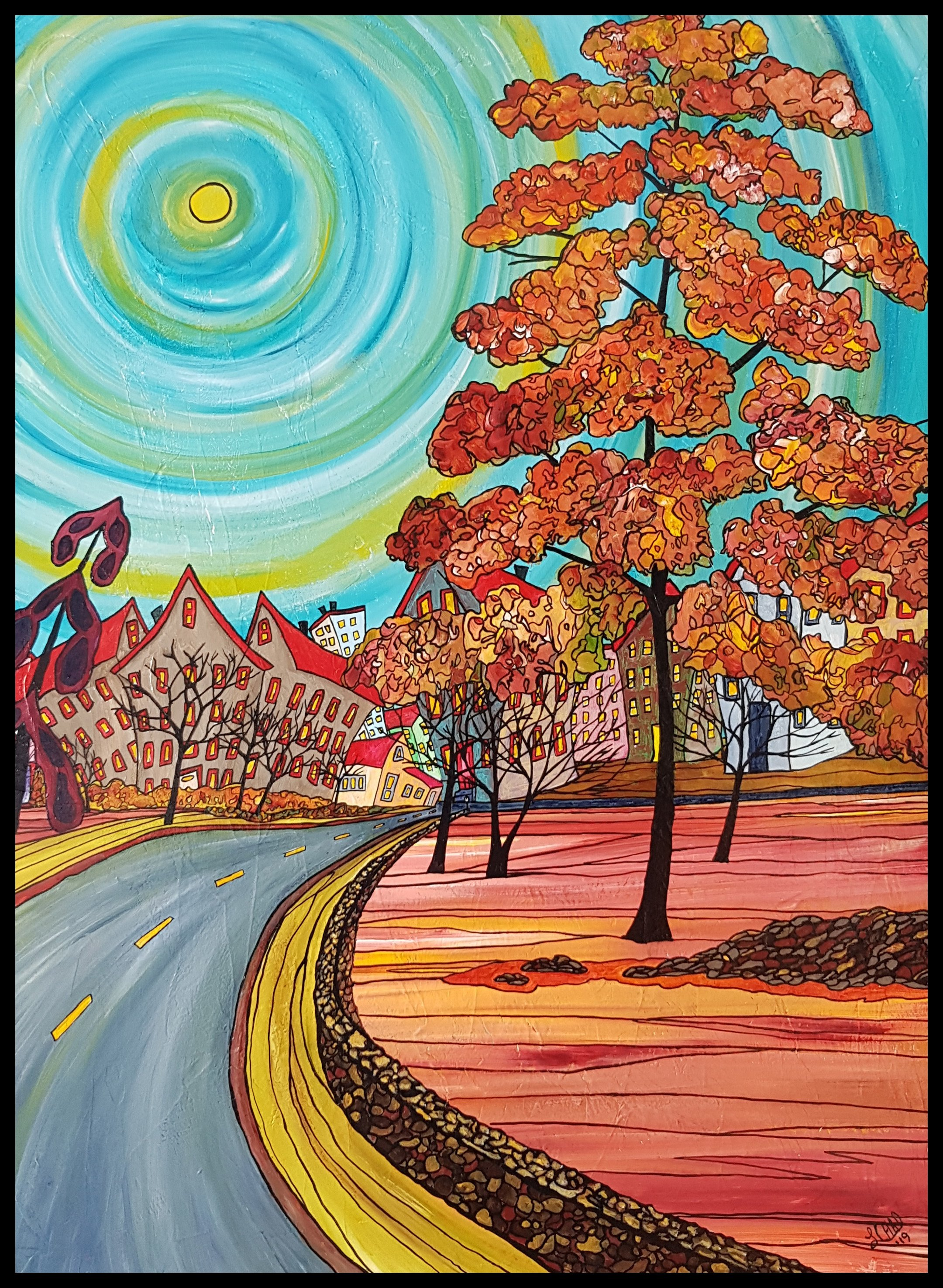 """Fall Park"" [2019] Image: 30"" x 40"" Framed: 33"" x 43"" Acrylic on Canvas $1600.00 SOLD"
