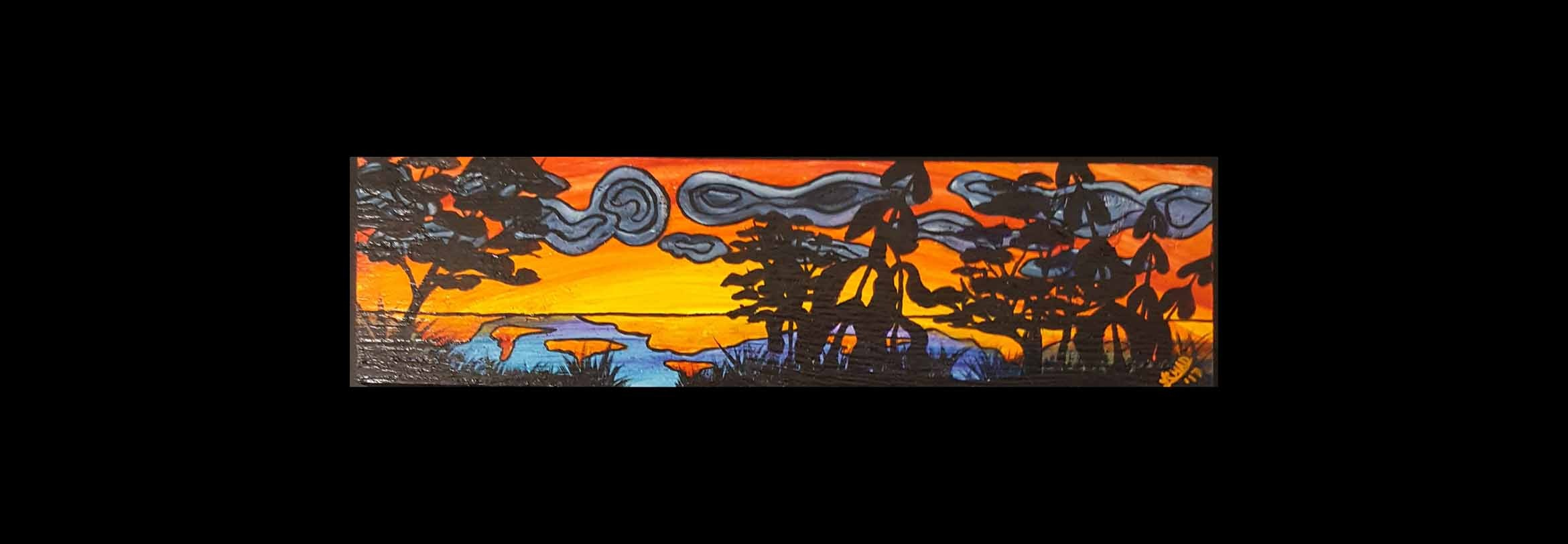"2017-12 ""Sunset at the Lake"" Framed 26"" x 13.25"" Mixed media on board $250.00"
