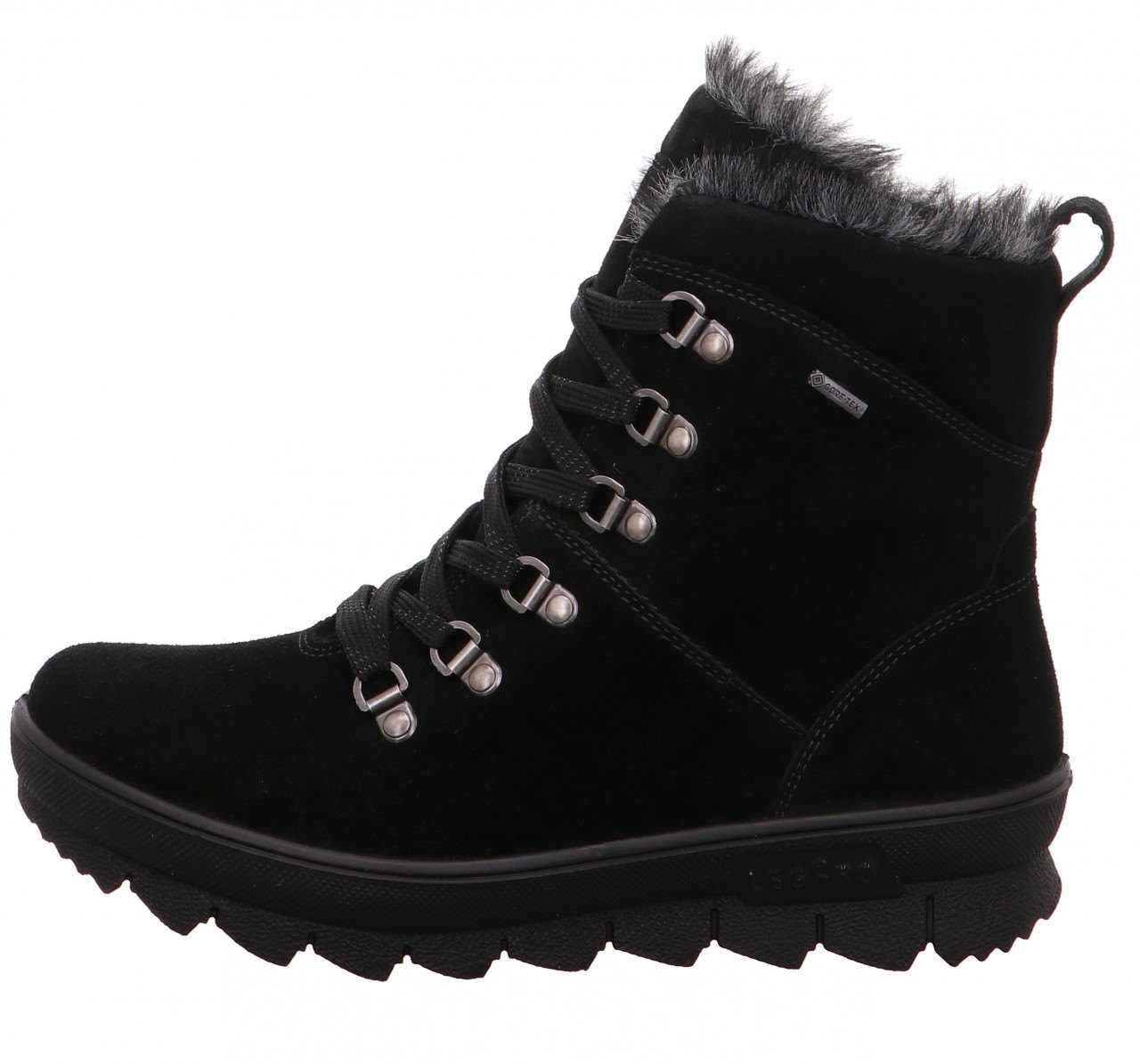 "NOVARA 503-00 BLACK WOMEN'S NOVARA 503-72 OCEAN WOMEN'S NOVARA is the classic among the boots of legero: rustic details such as fabric laces and metal eyelets as a holder characterize this model. The non-slip, yet very light and flexible sole with a striking sawtooth profile offers optimal stability on winter surfaces. The cozy warm lining in fur look with the proven GORE-TEX function is guaranteed to be waterproof and with its breathability ensures optimum climate comfort in the shoe. NOVARA is equipped with replaceable insoles. The model is available in the comfort range ""G"". BLACK SKU 17263 REG 260. ALWAYS 239.00"