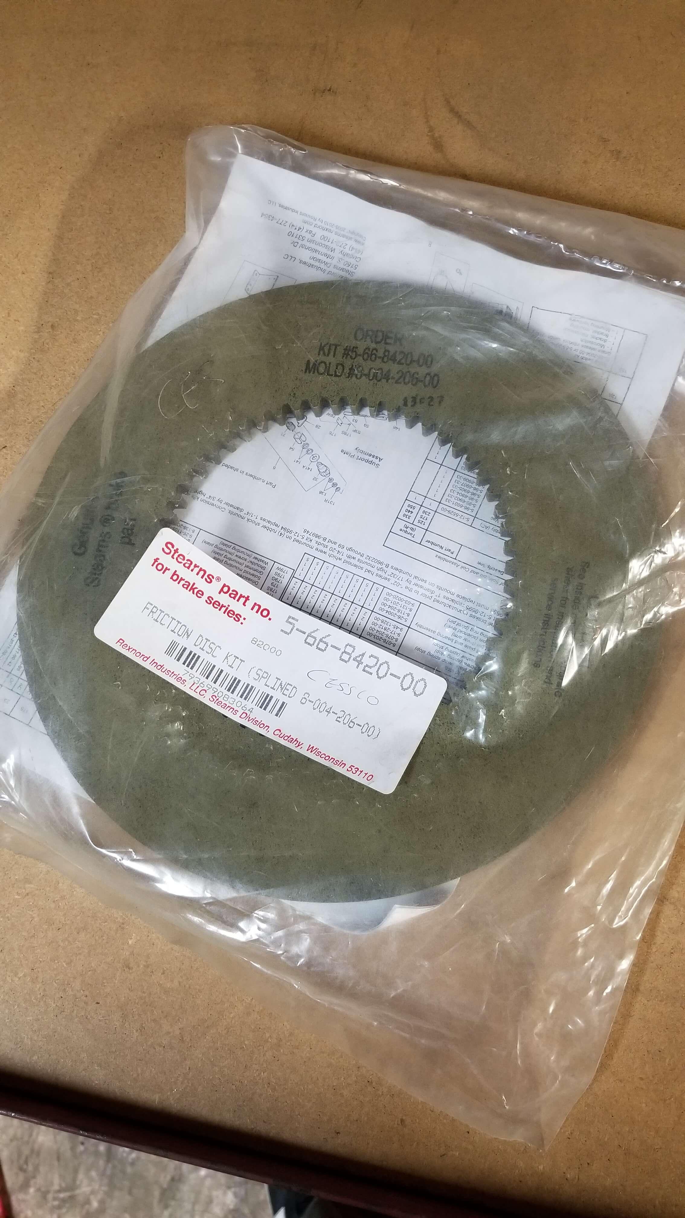 Stearns Brake Disc  P/N: 5 66 8420 00 $280.00